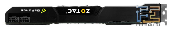 Два 8-контактных разъема питания Zotac GeForce GTX 590