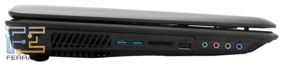 Левый торец MSI GT780R: два USB 3.0, карт-ридер, один USB 2.0, четыре аудио разъема