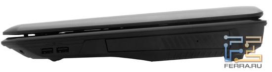 Правый торец MSI GT780R: два USB, оптический привод