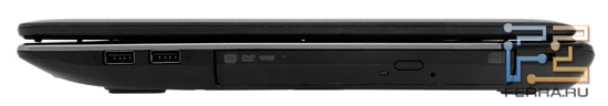 Правый торец Acer Aspire 5560G: два USB, Kensington Lock