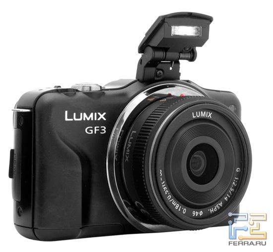 Panasonic Lumix GF3 с взведенной вспышкой