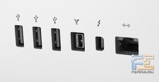 Разъемы Apple Thunderbolt Display: три USB, FireWire-800, Thunderbolt, RJ-45