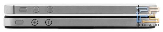 iPhone 4S (белый) и iPhone 4 – левая грань