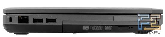 Левый торец HP ProBook 6360b: Kensington Lock, RJ-45, два USB, ExpressCard/54, оптический привод