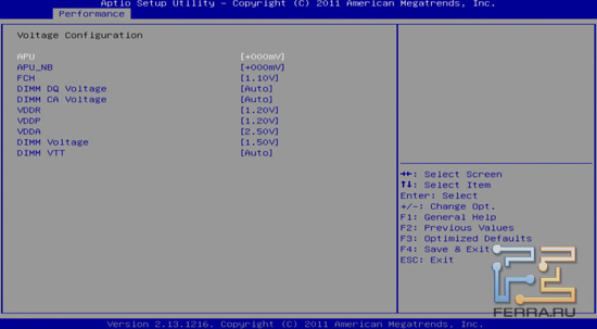 Вкладка Voltage Configuration BIOS Sapphire Pure Platinum A75