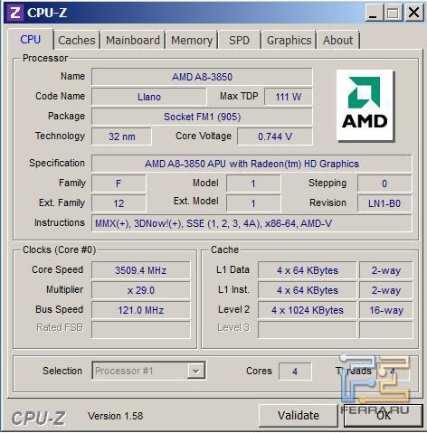 Разгон процессора AMD A8-3850