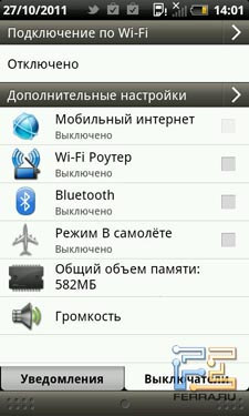 Быстрый доступ к Wi-Fi и другим выключателям на смартфоне HTC Rhyme