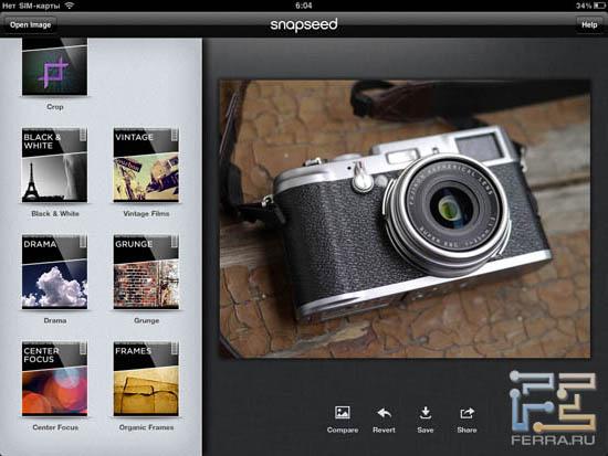 Интерфейс Snapseed 1.3 на iPad