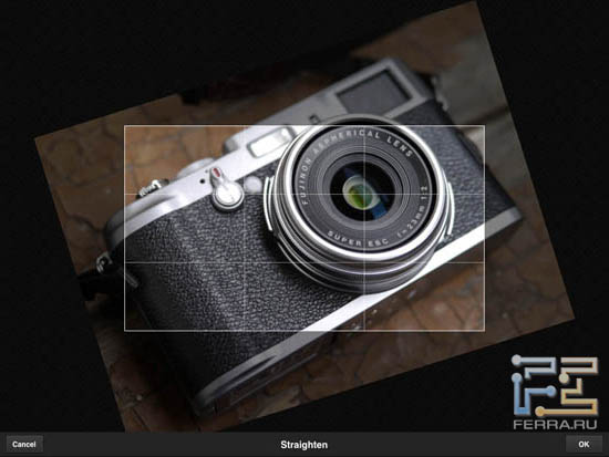 Использование инструмента Straighten в Adobe Photoshop Express 2.0.3