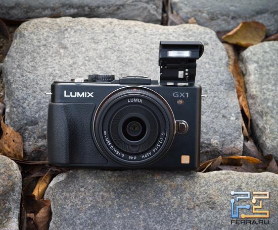 Panasonic Lumix GX1 с возведенной вспышкой