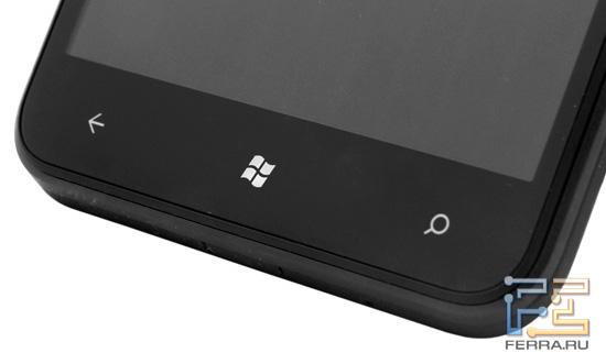 Три основные кнопки на лицевой стороне корпуса HTC Titan