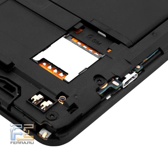 Слот для SIM-карты под крышкой HTC Titan