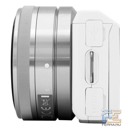 ����� ������� ������� Sony NEX-5N, ������� USB � HDMI