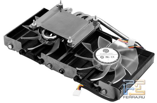 Демонтированная сиситема охлаждения Palit GTX 560 Ti Twin Light Turbo 1024