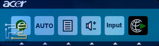 Главное меню монитора Acer DX241H