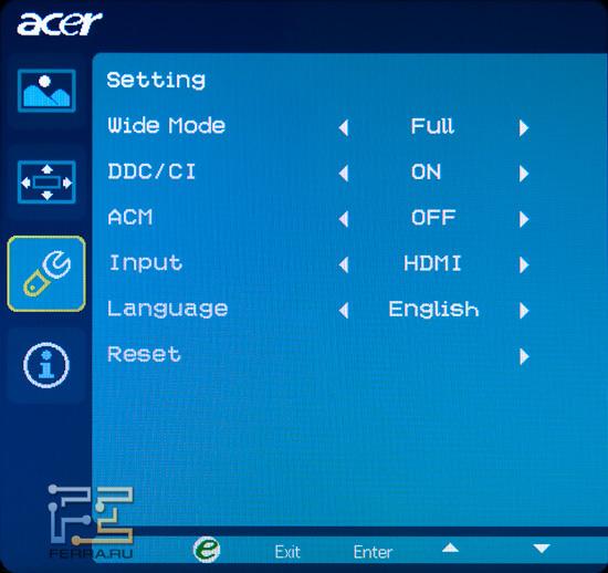 Настройки монитора Acer DX241H