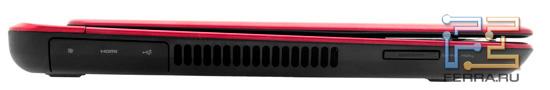 Левый торец Dell Inspiron N411Z: Mini DisplayPort, HDMI, USB, карт-ридер