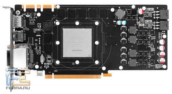 Видеокарта ZOTAC GTX 560 Ti 448 Cores с демонтированной системой охлаждения