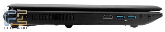 Левый торец MSI GE620DX: разъем питания, HDMI, два USB 3.0, аудио разъемы