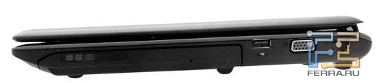 Правый торец MSI GE620DX: оптический привод, USB, D-SUB, RJ-45