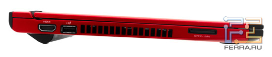 Левый торец Dell Vostro V131: HDMI, USB, карт-ридер