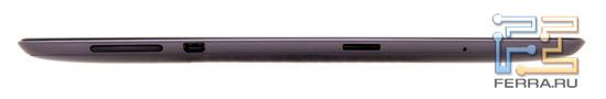Вид слева на планшет Asus Transformer Prime TF201