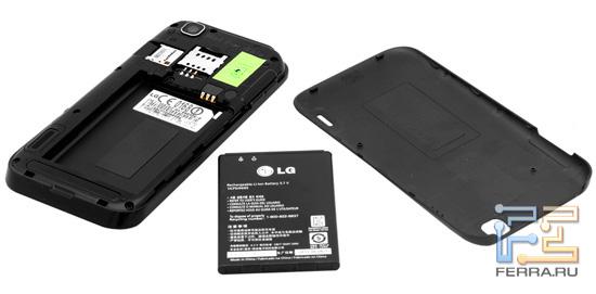 Батарейный отсек LG Optimus Sol