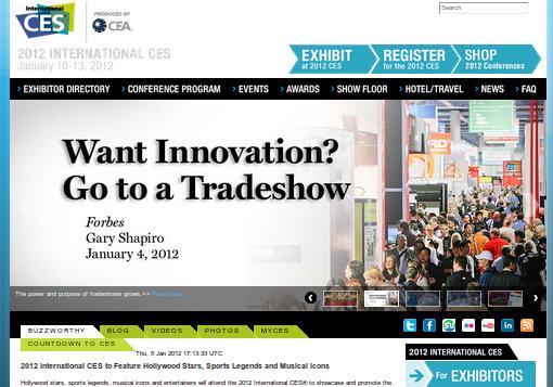 Главная страница сайта CES 2012