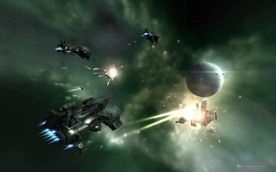 Троица мелких кораблей на заднем плане уже ничем не поможет расстреливаемой станции