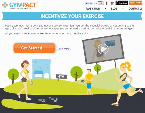 Главная страница сайта GymPact