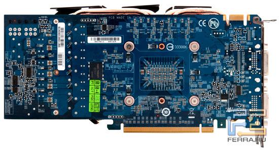 Видеокарта Gigabyte GV-N56GSO-1GI, вид сзади