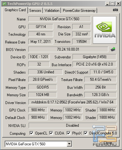 CPU-Z, Gigabyte GV-N56GSO-1GI в номинале