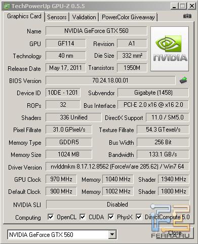 CPU-Z, разгон Gigabyte GV-N56GSO-1GI