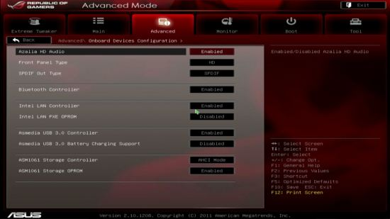 UEFI, меню Onboard Device Configuration