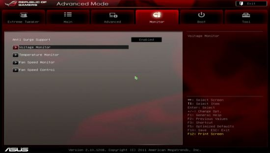 UEFI, меню Monitor