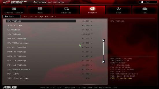 UEFI, меню Voltage Monitor