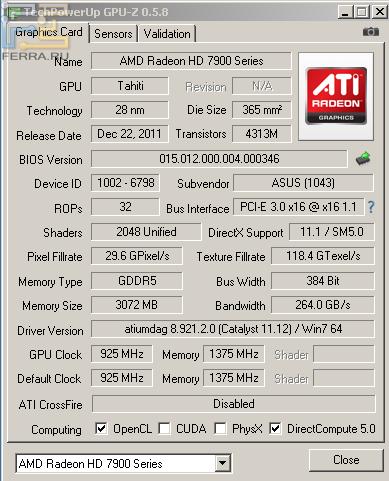 GPU-Z для видеокарты HD 7970 в номинале