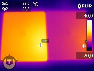 Температура нового iPad (слева) и iPad 2 (справа) под нагрузкой