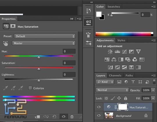 Новая панель Properties в Adobe Photoshop CS6