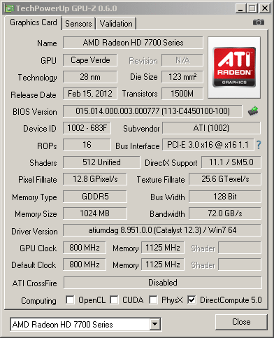 ���������� GPU-Z ��� HD 7750 � ��������