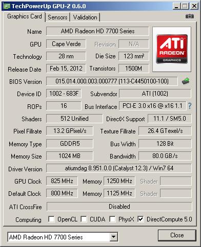 ���������� GPU-Z ��� HD 7750 � �������