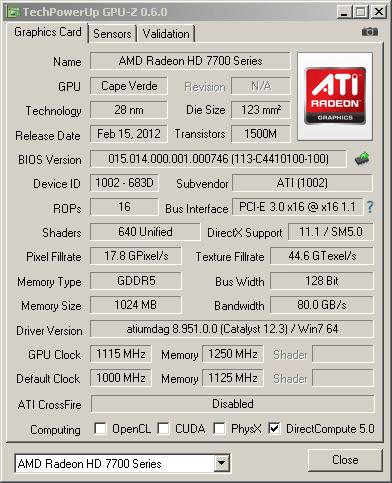 ���������� GPU-Z ��� HD 7770 � �������