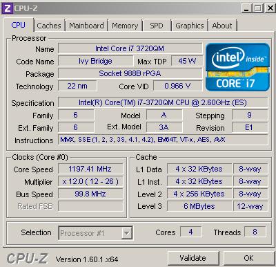 �������������� ���������� Core I7 3720QM