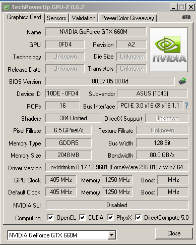 �������������� ���������� NVIDIA GTX 660M