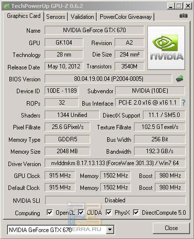 �������������� �������� NVIDIA GTX 670
