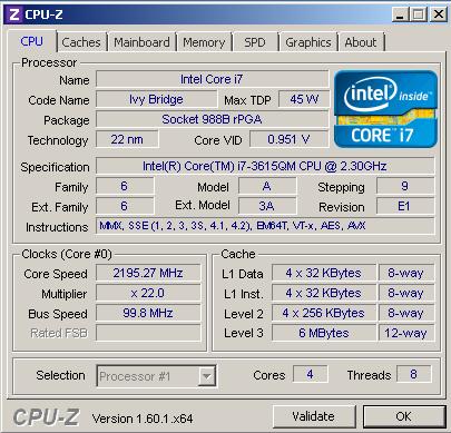 Характеристики процессора Core i7 3615QM