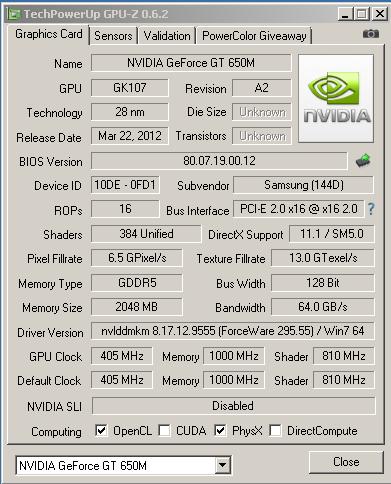 Характеристики видеокарты NVIDIA GT 650M