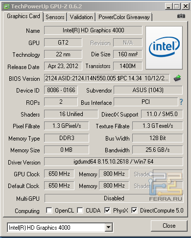 Характеристики Intel HD Graphics 4000