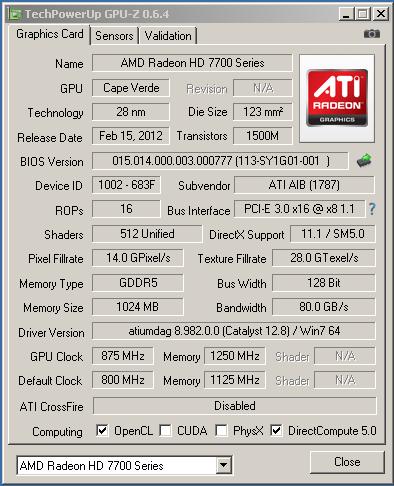 �������������� HIS HD7750 � �������
