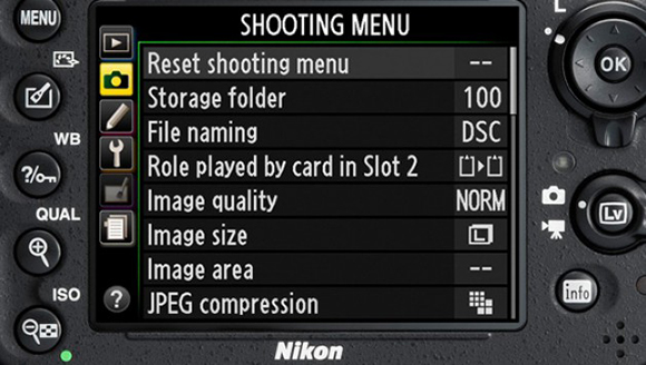 Общий вид главного меню Nikon D600